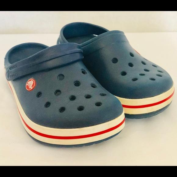 Crocband Bluewhitered Clogs Junior Sz